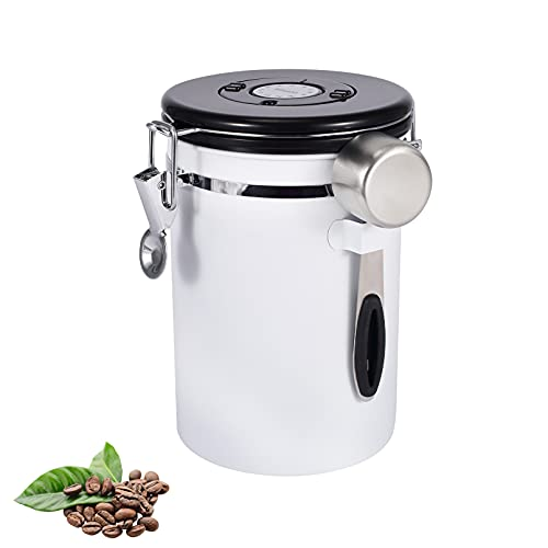 Kaffeedose aus Edelstahl, luftdicht, für Tee und Zucker, mit Kaffeelöffel, Weiß