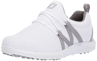 FootJoy Women's Leisure Slip-On Golf Shoes, White/Grey, 8 M US