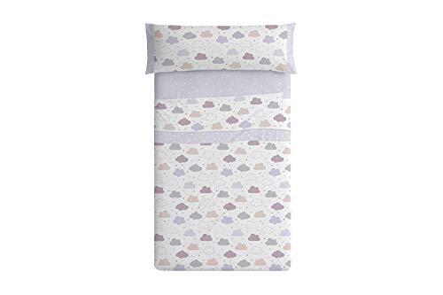 Burrito Blanco 008 Juego de Sábanas 90 Infantiles con Un diseño de Estampado de Nubes/Juego de Sábanas 90/Juego de Sábanas Infantiles para Cama Individual de 90x190cm, Gris, Granate y Beige