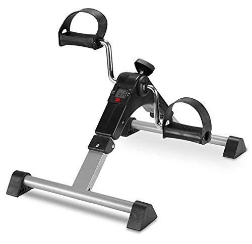 Pedales Estática Ejercicio de Mini Bicicleta Mini Bike con Pantalla LCD para el Entrenamiento de Brazos y Piernas (Plata)