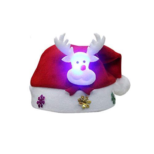 ZHongWei - Corona de Navidad Sombrero de Navidad - Adornos de Navidad Sombrero de Navidad Gorra de LED Hombre Viejo Lindo Hombre de Nieve Elk Sombrero Niños Año Nuevo Luz Cap (3pcs)