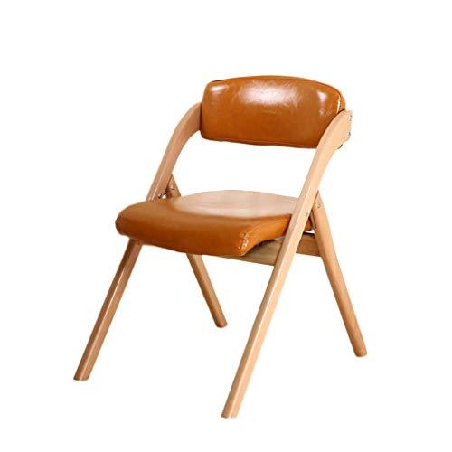 TD26 Chaise pliante en bois massif PU cuir hêtre brun, coussin en éponge haute élasticité