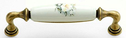 Landhausstil Küchengriff Porzellan AMBRA groß HIBISCUS weiß 24 x 146 - Qualität aus Europa seit 1998