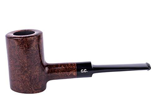 Pipa para fumar tabaco de madera, independiente, tallada a mano de raíz de brezo, filtro de enfriamiento de metal, viene con bolsa, en caja (Póker, Marrón)