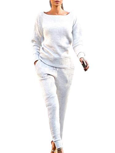 ORANDESIGNE Damen Mode Trainingsanzug Frauen Lange Ärmel Top + Lange Hose Sportswear 2 Stück Set Sport Yoga Outfit Freizeit Pullover Jogginganzug Weiß DE 34