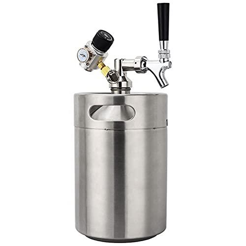 KELUNIS Presurizado Mini Sistema De Barril De Cerveza, 158 Oz De Acero Inoxidable Grifo Growler Dispensador Portátil, Barril Casero/Cerveza Artesanal Carbonatación Kit De Barril