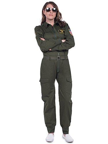 Tipsy Elves Damen Pilot Halloween Kostüm – Grüner Pilot Jumpsuit Erwachsene Militär Kostüm weiblich - Grün - XX-Large