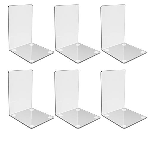 Clear Acrylic Bookends with Non-Slip Stickers, Bookends for Bedroom Library...