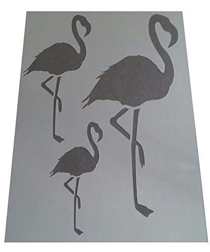 1 x Vintage-Schablone mit Flamingo-Motiv, 3 Größen, Kunststoff, A4, 297 x 210 mm, für Möbelwände
