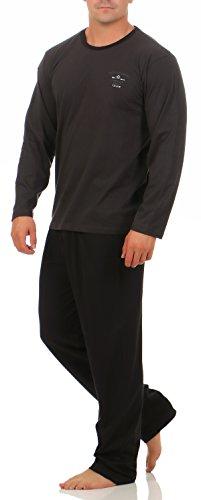 Hyund Langer Schlafanzug Anthrazit mit Motiv Hose schwarz Gr. 50/M langer Pyjama püjama langarm baumwolle Größe 46/48 50/52 54/56 58/60 langer Schlafanzug