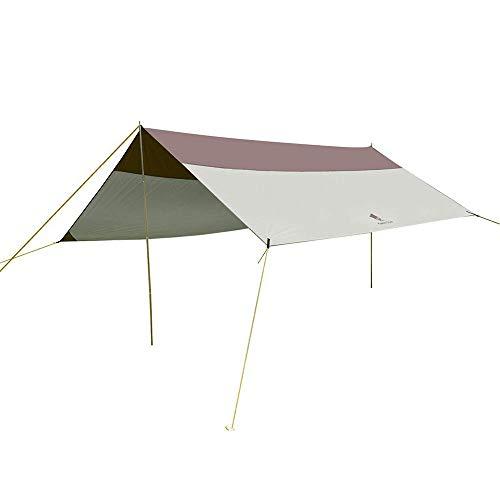 GEERTOP Lona para Acampadas - Toldo Protector del Sol – Carpa Tarp Impermeable Compacta y Fuerte - 500 x 440 cm (3,3kg) - 5 a 8 Personas - Varillas Incluidas - Gris