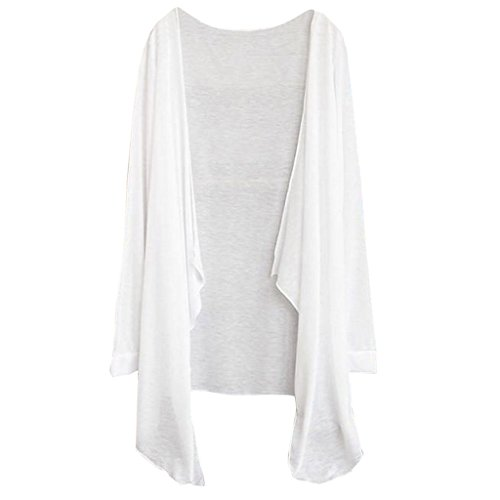 Lamdoo Damen Sommerjacke, lang, dünn, Sonnenschutz, Kleidung, Oberteil, einfarbig, Weiß