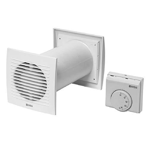 Ø 125mm Warmluft - Umlaufset Heiz-Spar-Set Lüfter Heizlüfter Wärmerückgewinnung Wärmetauscher Ventilator Ablüfter Warmluftverteilung mit Thermostat