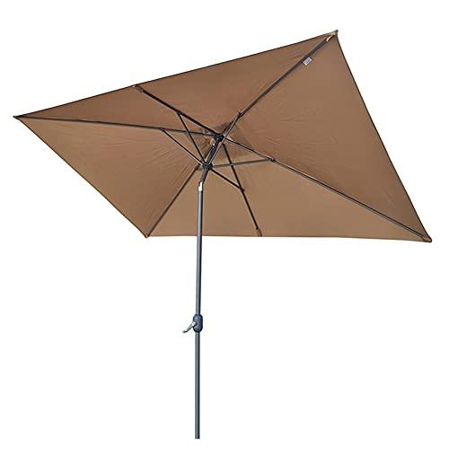 ERLAN Parasol Jardin Sombrillas de Patio Al Aire Libre Cuadrado de 6,5 Pies, Sombrilla de Aluminio con 6 Varillas Resistentes, Sombrilla para Jardín UV50 + Piscina Balcón
