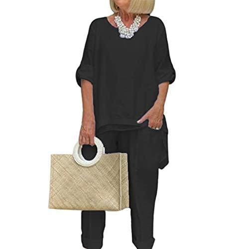 HUAJIA Homewear Traje De Cuello Redondo Blusa Elástico Cintura Pantalones Otoño Manga Larga Negro 3XL