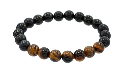 8 mm Round Shungite Stretch Bracelet with Tiger Eye Beaded Centerpiece, 7.5'
