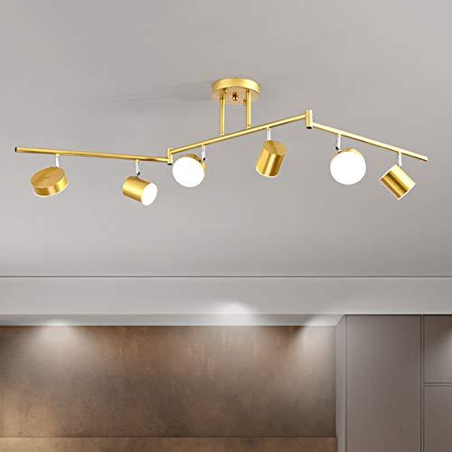 Foco De Techo LED, Lámpara De Techo Ajustable con Brazo De Lámpara Giratorio De 180° para Sala De Estar, Guardarropa, Tienda De Ropa, 30W 6-Luces,Oro