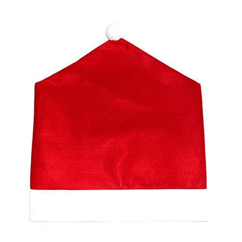 Funda de Asiento Navide?a Decoraciones Navide?as Silla extraíble Decoración Trasera Mesa de Cena Decoración de Fiesta para el hogar-Rojo Brillante