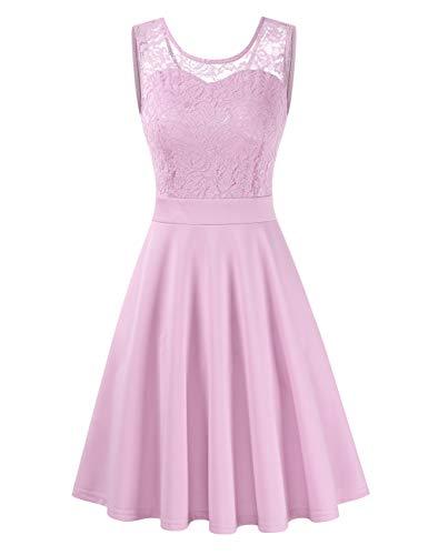 Clearlove Damen Kleider Elegant Knielang Spitzenkleid 3/4 Ärmel Cocktailkleid Rundhals Rockabilly Kleid(Verpackung MEHRWEG),Lavendel,S