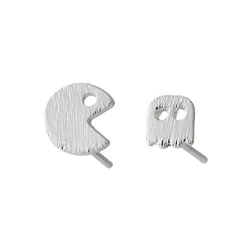 Pendientes de Botón Selia Diseño Pacman /Aretes Origami ( Pacman Play ) con Aspecto de Cepillado / Tendencia Minimalista