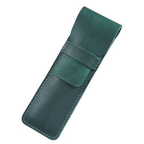 Caja de Cuero Genuino con Cubierta de Manga, Bolso de papelería de la Bolsa de lápiz (Color : Dark Green, Size : 165x70mm)