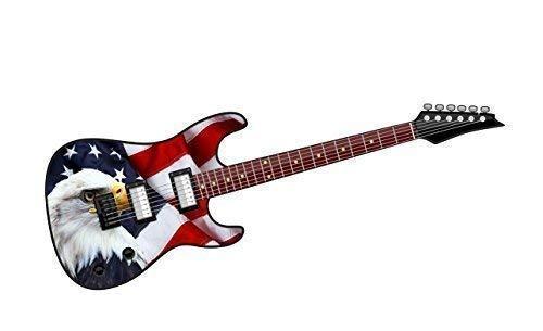 Cool Eléctrico Guitarra Diseño con Americano Águila y Ee.uu. Bandera Impreso Adhesivo...