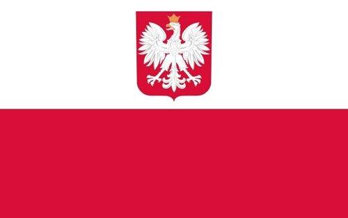 Qualitäts Fahne Flagge Polen mit Adler 90 x 150 cm mit verstärktem Hissband