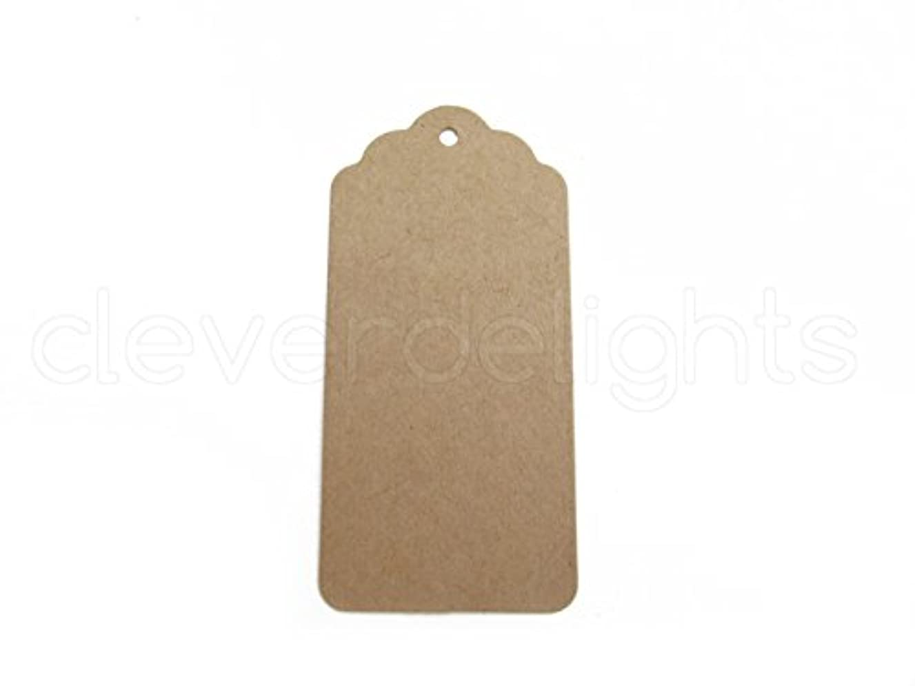 CleverDelights 50 Kraft Gift Tags - Scalloped Hang Tag - 3.75