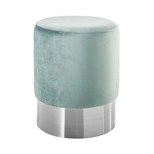 Invicta Interior Eleganter Sitzhocker MODERN BAROCK 35cm Samt Mint Silber Beistelltisch Couchtisch...