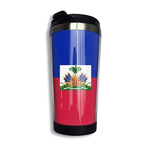 Flagge von Haiti Kaffeetasse mit Deckel für Tee Kaffee Reisebecher Edelstahl 400 ml