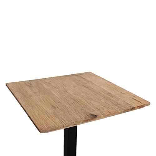 Atypik Home Table Haute en Bois Ancien Brun Miel 70 x 70