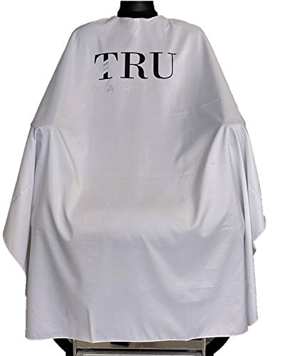 TRU BARBER Capa de peluqueria blanca XXL, con cuello de silicona, 100% poliéster, capa de peso ligero y resistente al agua, capa de salón profesional con cierre a presión
