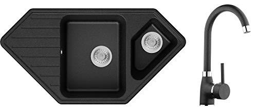 Spülbecken Graphit 97 x 49 cm, Eckspüle + Küchenarmatur + Siphon Klassisch, Granitspüle ab 80er Unterschrank, Küchenspüle von Primagran