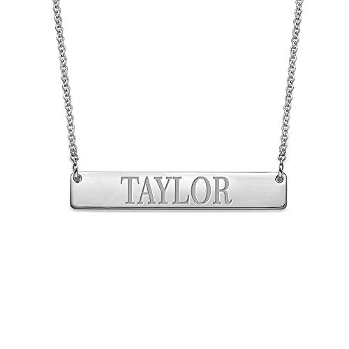 MyNameNecklace Personalized Bar Necklace Engraved Name Necklace- Silver 925 TAYLOr