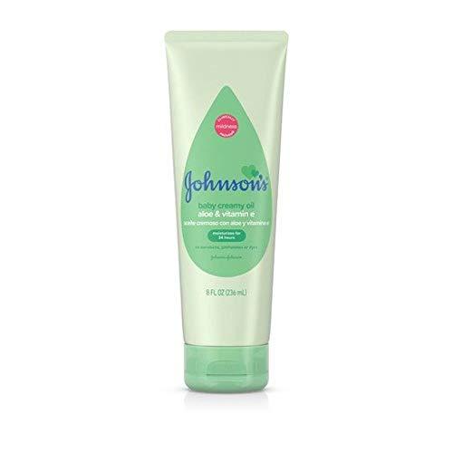 Johnson's Baby Creamy Oil - With Aloe Vera & Vitamin E - Non-Greasy - Net Wt. 8 FL OZ (236 mL) Per Tube - Pack of 3