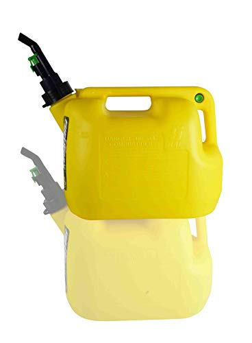 FUELWORX Yellow 5 Gallon Stackable Fast Pour Diesel Fuel Cans CARB Compliant Made in The USA Single Can