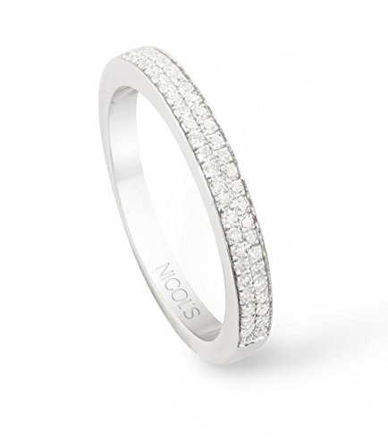NICOLS 14710540011 - Anillo Diamantes Diamond Classic. Media alianza en doble línea, en oro blanco y diamantes talla brillante. Peso total D0.35ct.