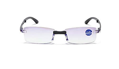 DAWN&ROSE Folding Lesebrille, Diamant die Alten Spiegel Trimmen, Anti-blaues Licht, schützen Sehvermögen, High-Definition, ältere Menschen spezielle, leichte Rahmenlos,+3.0