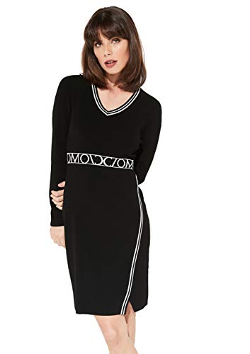 comma Damen Feinstrickkleid mit V-Ausschnitt Black Knit 36