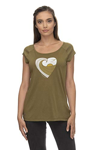 Ragwear SEA Breeze Organic Damen,T-Shirt,Shirt,Oberteil,Kurze Ärmel,vegan,Rundhalsausschnitt,Olive,L