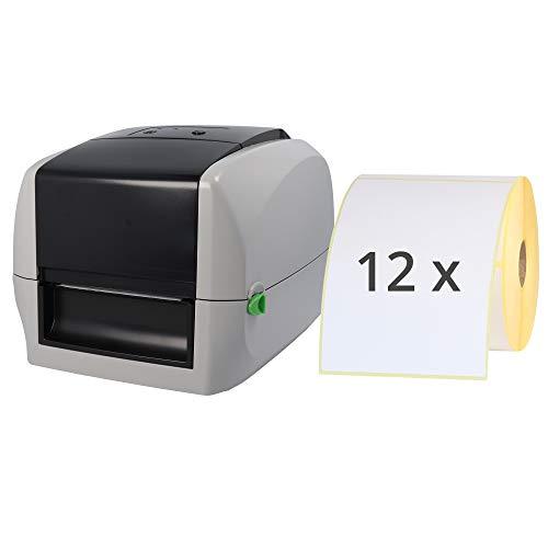 Labelident Starterset - Cab MACH1 Etikettendrucker mit Abreißkante inkl. 6000 Etiketten (103 x 150 mm) auf 12 Rollen, 203 dpi - Thermotransfer- und Thermodirektdrucker
