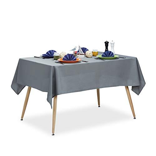 Relaxdays Tischdecke wasserabweisend, pflegeleicht, Polyester-Tischtuch, bügelfest, Gartentischdecke eckig 140x180, grau