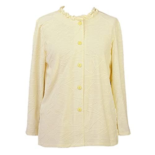 長袖ブラウス 前開きシャツ メロウ襟 レディース シニア 婦人服 日本製(2.黄色/フリー)