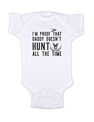 Hello Handmade - I'm Proof That Daddy Doesn't Hunt All The time Funny Baby Bodysuit Hunting Surprise Husband (Newborn Bodysuit, White)
