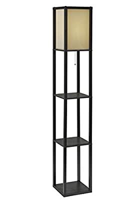 """Adesso 3138-01 Wright 63"""" Floor Lamp – Smart Switch Compatible Light Fixtures with 2 Storage Shelves. Lighting Accessories"""