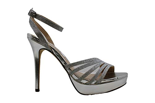 Price comparison product image NINA Womens Starla-YG Open Toe Formal Ankle Strap Sandals,  Silver,  Size 8.0