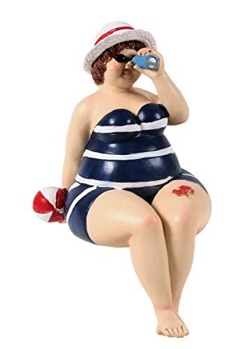 Schick-Design Badenixe im blauen Badeanzug mit Fernrohr und Hut sitzend 17 cm Kantenhocker Mädchen Rubensfrau mollige Dame Dicke Frau Badezimmer Figur Strand Meer Urlaub