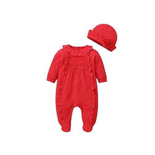 Fenical Langarm Kleidung Hut passt Klettern Kleidung lässig Overall für Neugeborene Kleinkinder (rot 73cm)