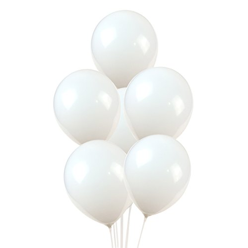 100 Premium Quality Balloons: 12 inch White Latex Balloons
