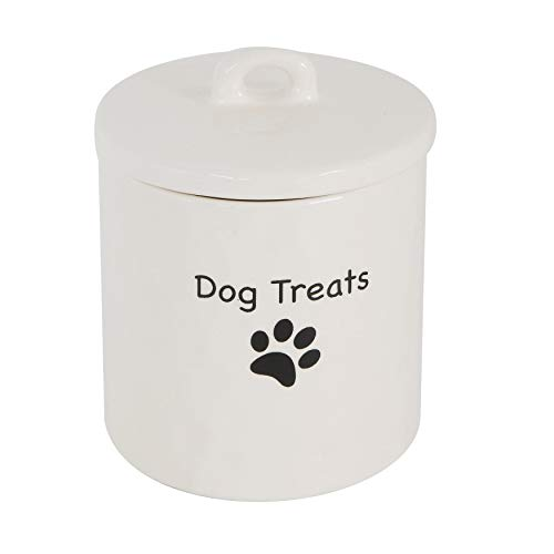 Creative Co-op Dog Treats Stoneware Canister, White